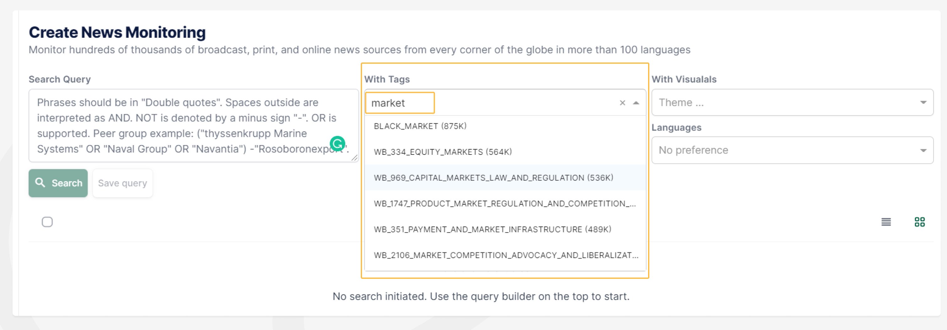 News Zoom - Competitive Monitoring TAGS