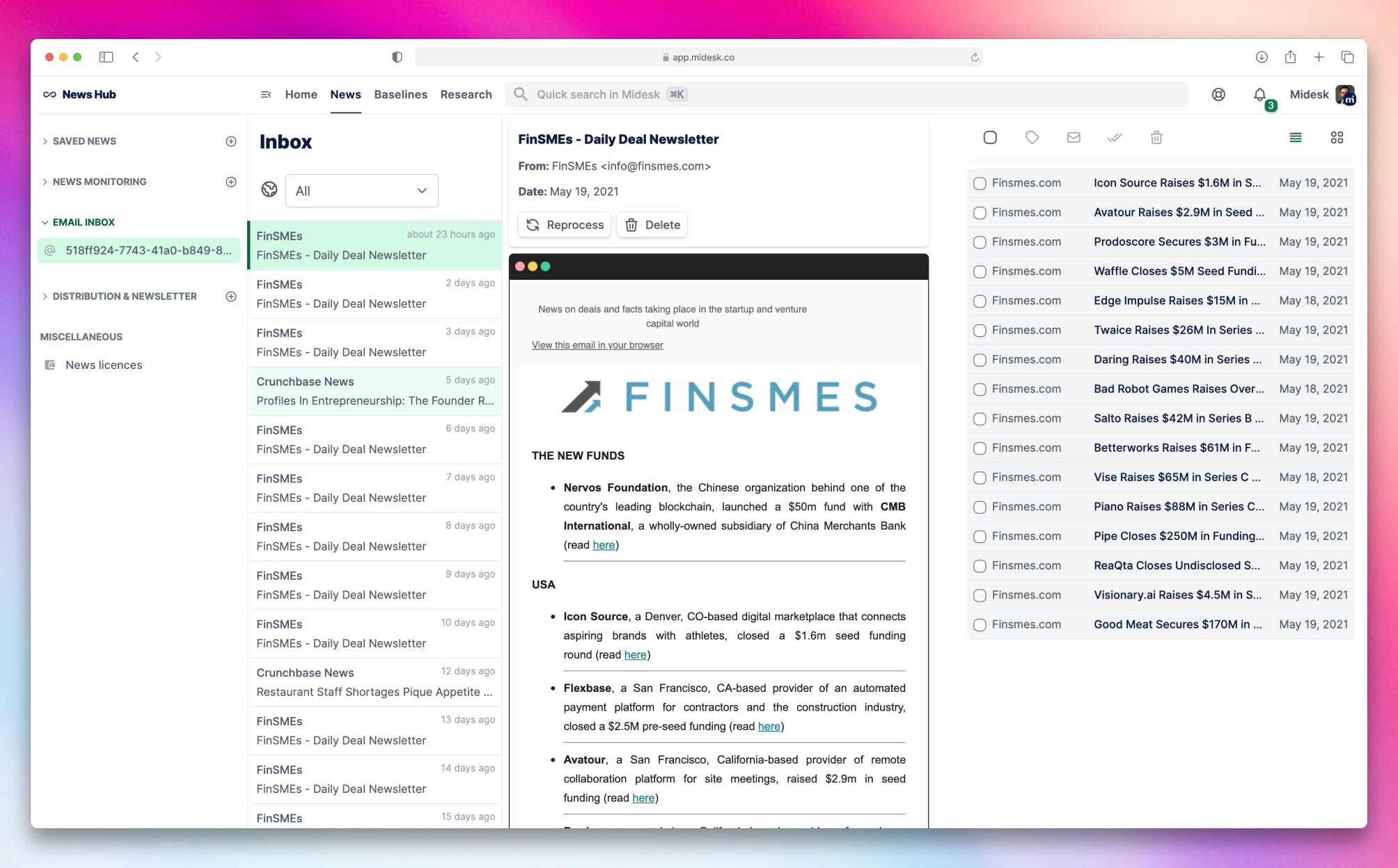 Midesk Inbox Overview Page